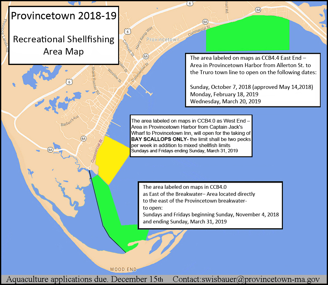 Princetown 2018 to 2019 Recreational Shellfishing Map