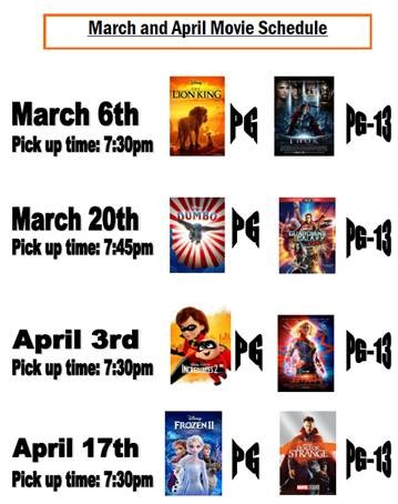March and April Movies